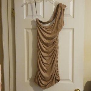 Bebe Tan One Shoulder Faux Suede Dress Size L